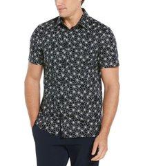 men's floral print short sleeve stretch button - down shirt