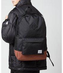 herschel supply co. men's heritage backpack - black/saddle brown