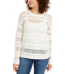 hooked up by iot juniors' open-stitch sweater
