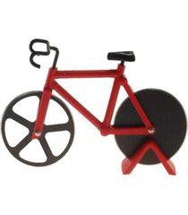 cortador de pizza bicicleta decorativo cor vermelho 12x18cm - marrom - dafiti