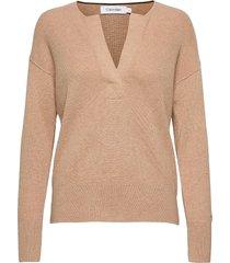 ls open neck sweater gebreide trui beige calvin klein