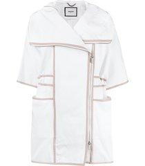 max & moi panelled short-sleeve coat - white