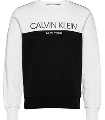 color block logo sweatshirt sweat-shirt trui zwart calvin klein