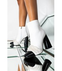 akira azalea wang come find my treasure chunky heel bootie in white