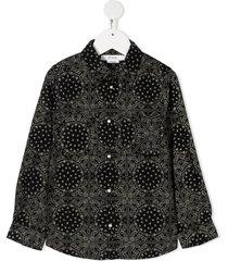bonpoint corduroy paisley-print shirt - black