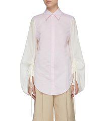contrast drape drawstring sleeve point collar shirt