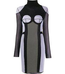 jean paul gaultier pre-owned 2000s turtleneck panelled sheer dress -