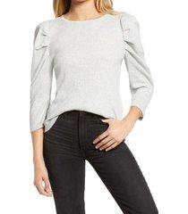 women's treasure & bond puff sleeve thermal top, size large - grey