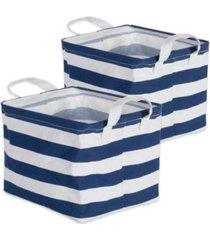 design imports polyesterethylene coated cotton polyester laundry bin stripe rectangle small set of 2
