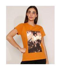"""camiseta de algodão da banda queen freddie mercury i want to break free"""" manga curta decote redondo mostarda"""""""