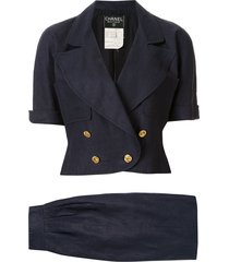 chanel pre-owned peaked double-breasted skirt suit - blue