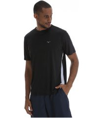 camiseta mizuno wave run new - masculina - preto/branco