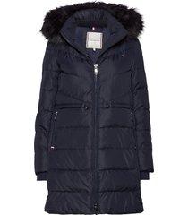 alana padded coat gevoerde lange jas blauw tommy hilfiger