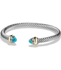 david yurman cable classics bracelet with semiprecious stones & 14k gold accent, 5mm, size medium in silver/gold/turquoise at nordstrom