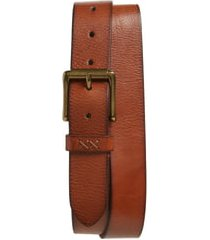 men's frye flat panel leather belt, size 32 - cognac