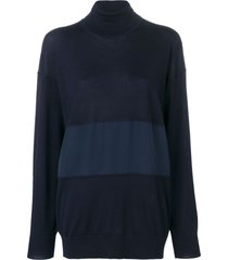 chloé turtle-neck panelled sweater - blue