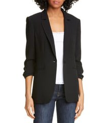 women's cinq a sept khloe ruched sleeve blazer, size 0 - black