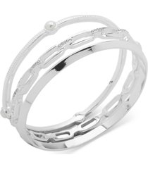 anne klein silver-tone 3-pc. set crystal & imitation pearl bangle bracelets
