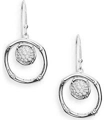 bamboo lava white topaz & sterling silver drop earrings