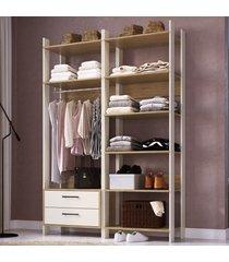 closet 2 gavetas 8 prateleiras cbcla02 off white/itapua - completa móveis