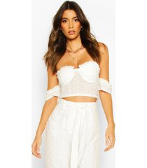 broderie cup detail off shoulder top, white