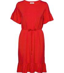 nilen dress knälång klänning röd modström