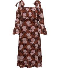 m tte georgette maxi dress kort klänning brun ganni