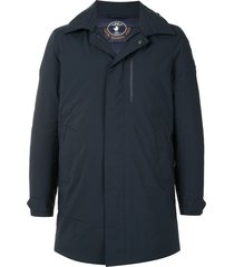 save the duck synthetic down hooded rain parka - blue
