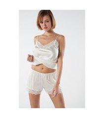 shorts de pijama de seda - off-white gg
