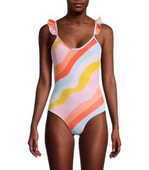 chaser women's striped one-piece swimsuit - pink multicolor - size s
