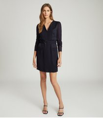 reiss addison - belted shift dress in navy, womens, size 14