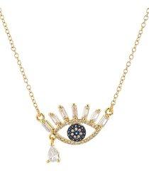 eye candy la women's 14k goldplated sterling silver & crystal evil eye teardrop pendant necklace