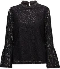 izabel sequin blouse blus långärmad svart cream
