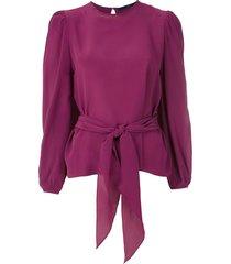 eva tie-up silk blouse - purple