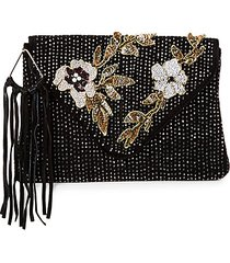 carina embellished suede envelope clutch