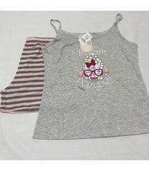 pijama estampado regata alça fina e short curto