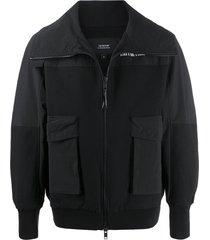 tobias birk nielsen wide collar bomber jacket - black