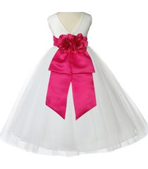 ivory v-shaped neckline flower girl dress tulle easter pageant wedding gown 108a