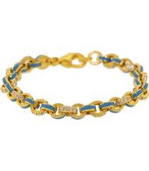 sky blue enamel and pave diamond link bracelet