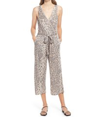 bobeau jordyn sleeveless ribbed tie waist jumpsuit, size small in brown animal at nordstrom