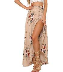 apparel women's boho floral print high waist summer beach wrap maxi skirt