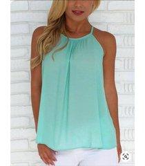 verde plisado diseño camisón sin mangas halter