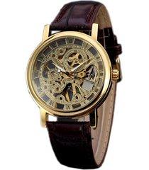 reloj de cuero winner classic-dorado