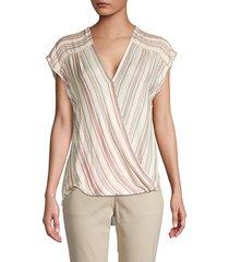 max studio women's striped high-low top - white navy - size m
