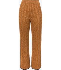 proenza schouler white label fine gauge rib knit pants chestnut/skyblue/brown xl