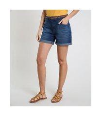 bermuda jeans feminina cintura média barra dobrada com cinto azul escuro