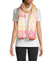 missoni women's chevron & check-print silk scarf - pink yellow