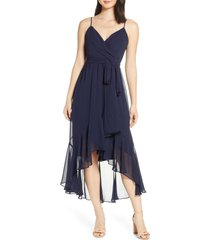 women's eliza j high/low faux wrap chiffon dress