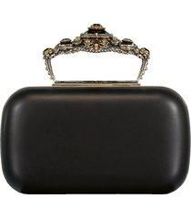 box leather clutch bag
