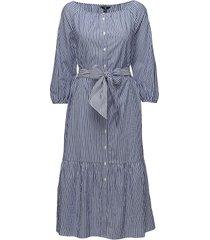 o1. preppy striped shirt dress knälång klänning blå gant